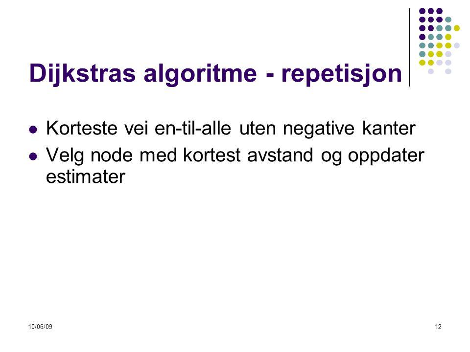 10/06/0912 Dijkstras algoritme - repetisjon  Korteste vei en-til-alle uten negative kanter  Velg node med kortest avstand og oppdater estimater