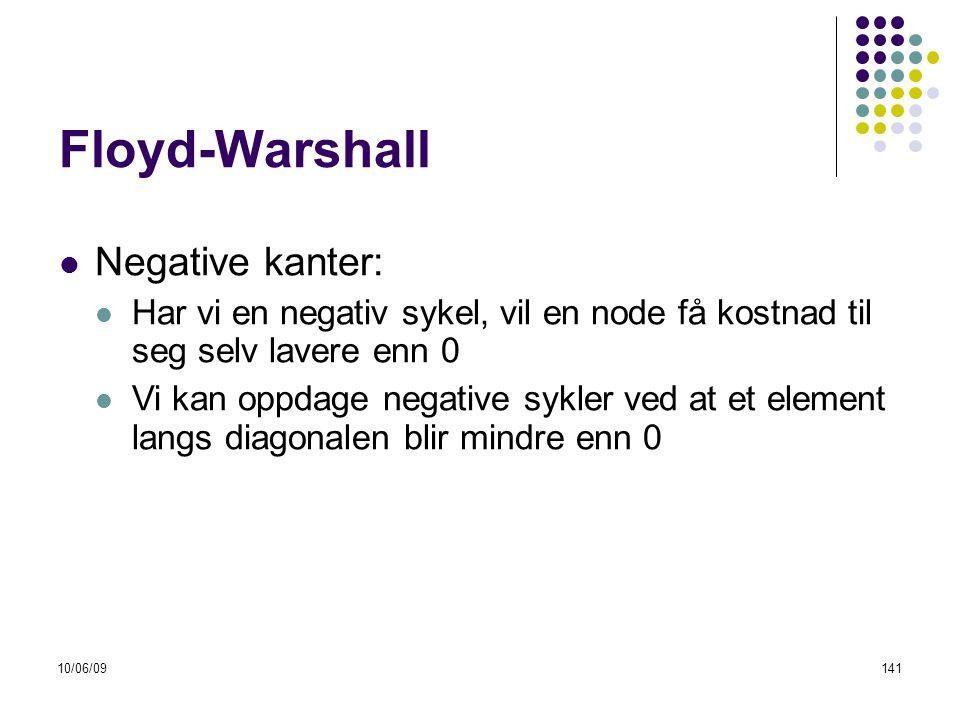 10/06/09141 Floyd-Warshall  Negative kanter:  Har vi en negativ sykel, vil en node få kostnad til seg selv lavere enn 0  Vi kan oppdage negative sykler ved at et element langs diagonalen blir mindre enn 0