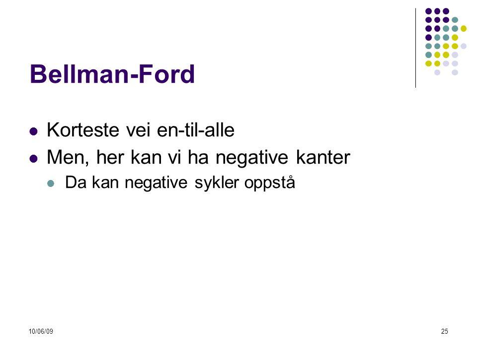 10/06/0925 Bellman-Ford  Korteste vei en-til-alle  Men, her kan vi ha negative kanter  Da kan negative sykler oppstå