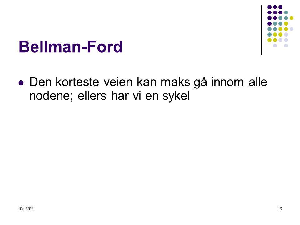 10/06/0926 Bellman-Ford  Den korteste veien kan maks gå innom alle nodene; ellers har vi en sykel