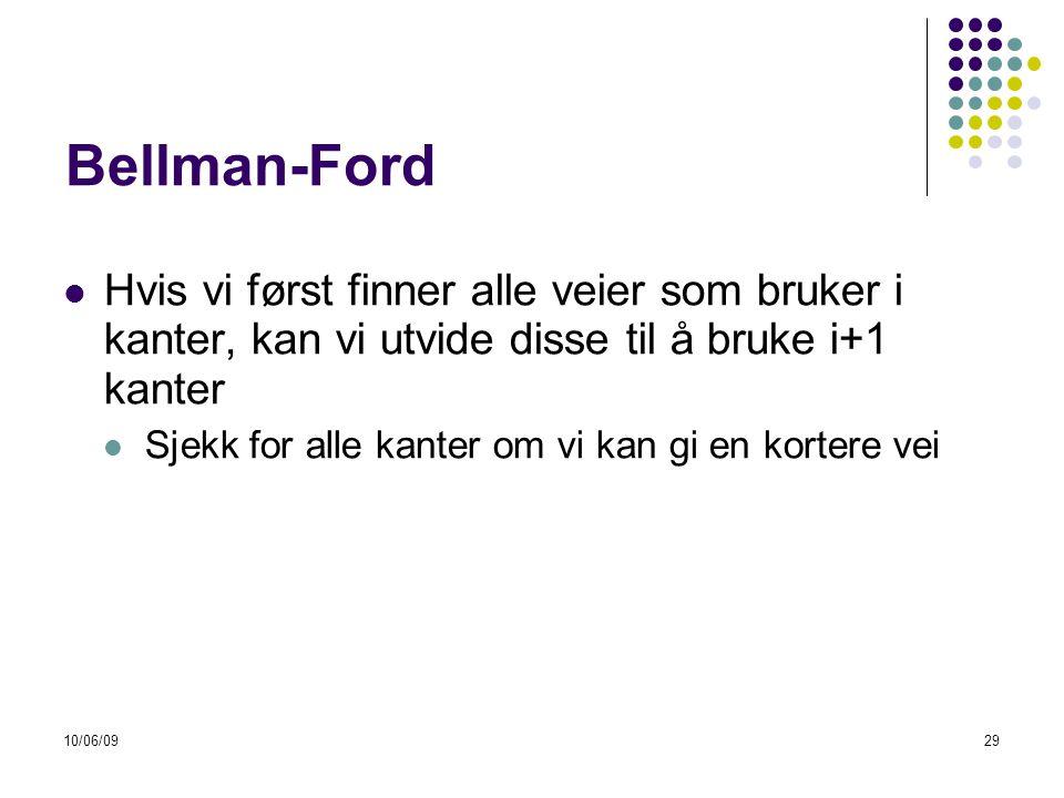 10/06/0929 Bellman-Ford  Hvis vi først finner alle veier som bruker i kanter, kan vi utvide disse til å bruke i+1 kanter  Sjekk for alle kanter om vi kan gi en kortere vei