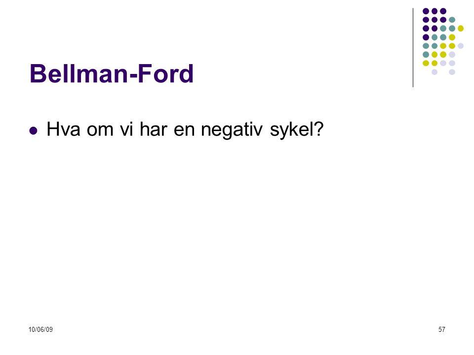 10/06/0957 Bellman-Ford  Hva om vi har en negativ sykel?