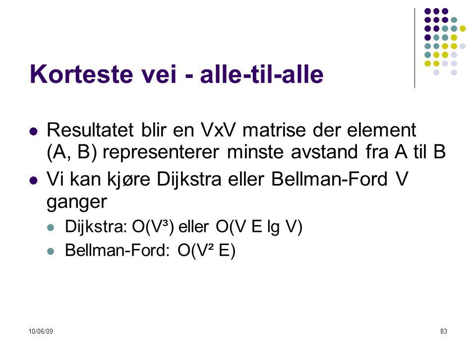 10/06/0983 Korteste vei - alle-til-alle  Resultatet blir en VxV matrise der element (A, B) representerer minste avstand fra A til B  Vi kan kjøre Dijkstra eller Bellman-Ford V ganger  Dijkstra: O(V³) eller O(V E lg V)  Bellman-Ford: O(V² E)