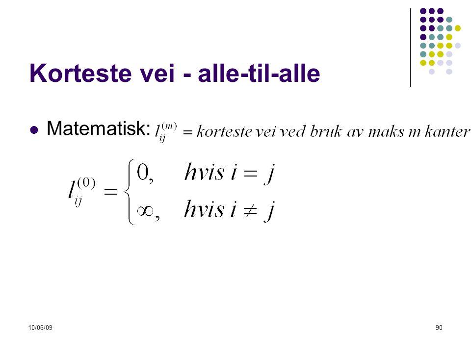 10/06/0990 Korteste vei - alle-til-alle  Matematisk: