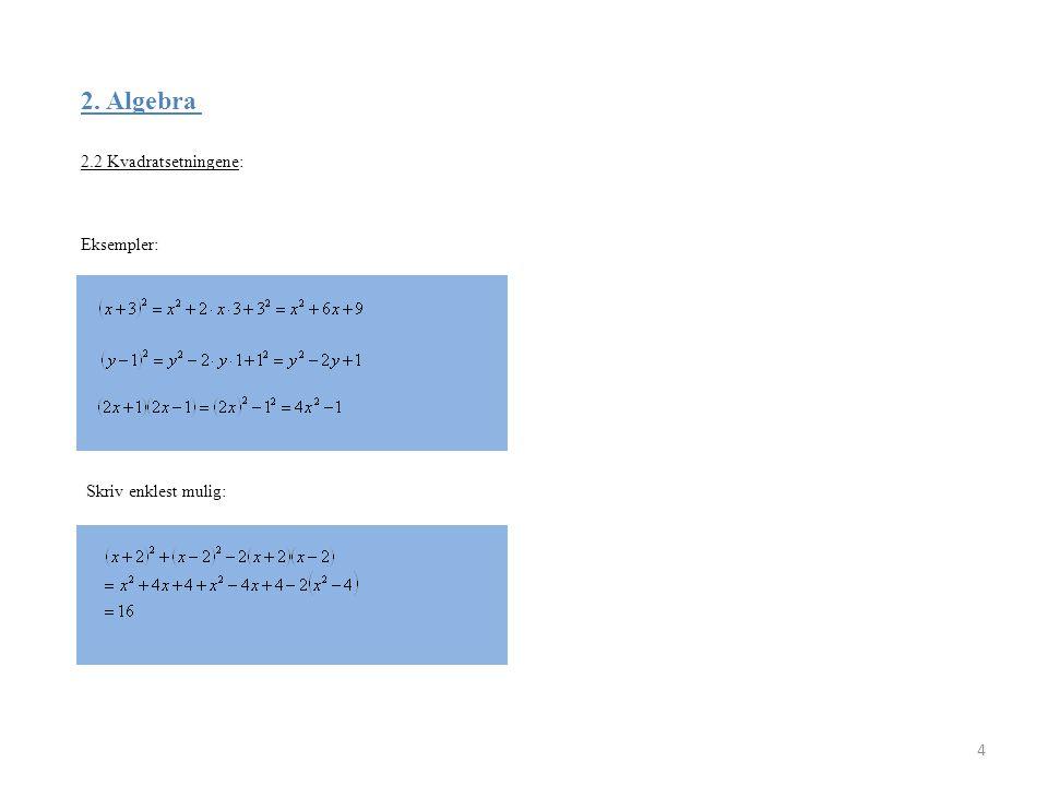 2. Algebra 2.2 Kvadratsetningene: 4 Eksempler: Skriv enklest mulig: