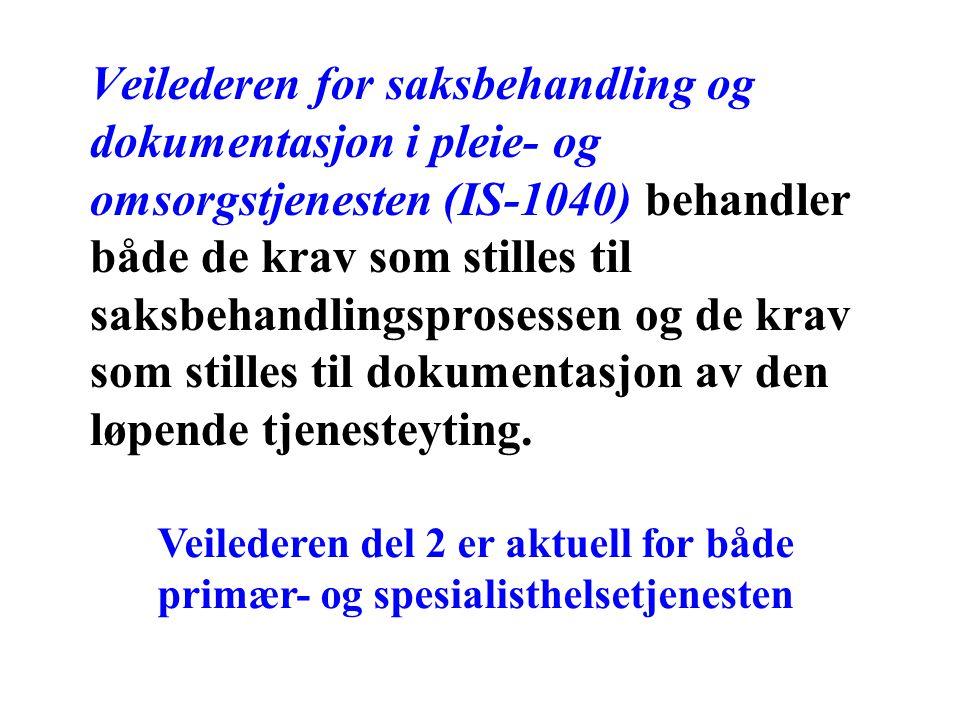 Veilederen for saksbehandling og dokumentasjon i pleie- og omsorgstjenesten (IS-1040) behandler både de krav som stilles til saksbehandlingsprosessen og de krav som stilles til dokumentasjon av den løpende tjenesteyting.