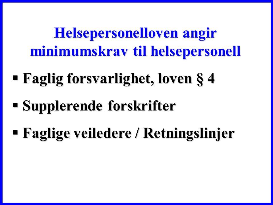 Helsepersonelloven angir minimumskrav til helsepersonell  Faglig forsvarlighet, loven § 4  Supplerende forskrifter  Faglige veiledere / Retningslinjer