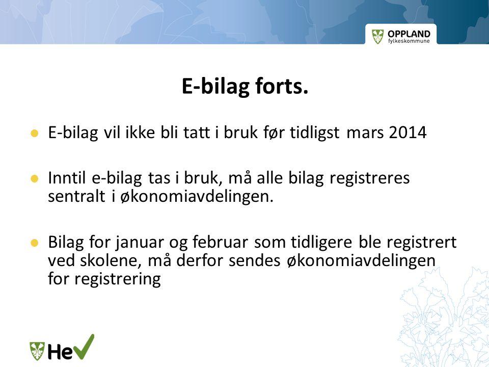 E-bilag forts.  E-bilag vil ikke bli tatt i bruk før tidligst mars 2014  Inntil e-bilag tas i bruk, må alle bilag registreres sentralt i økonomiavde