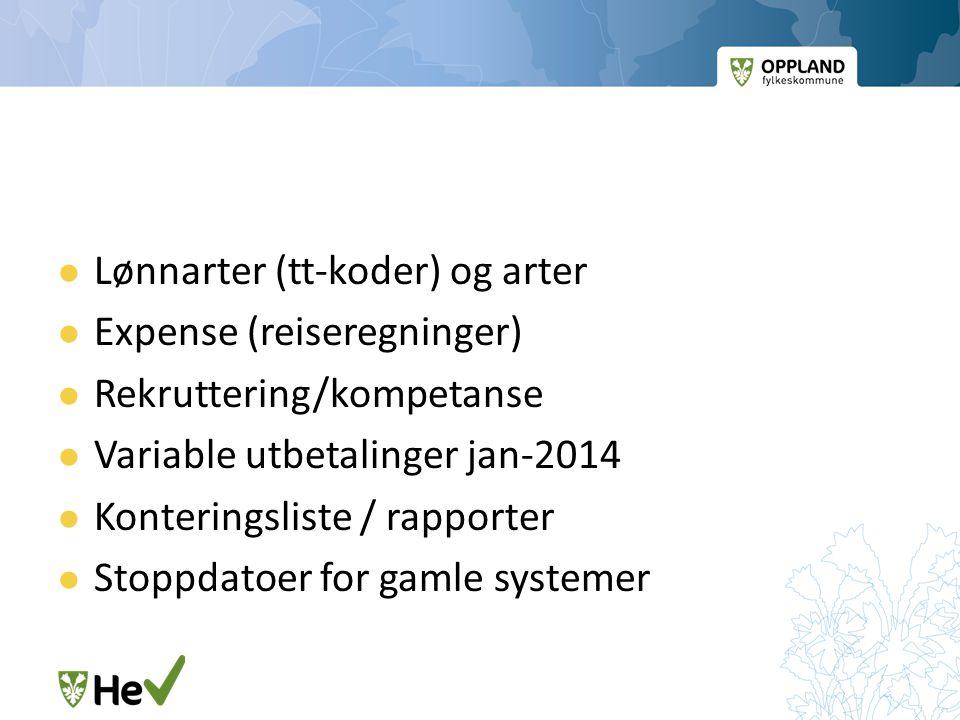  Lønnarter (tt-koder) og arter  Expense (reiseregninger)  Rekruttering/kompetanse  Variable utbetalinger jan-2014  Konteringsliste / rapporter 