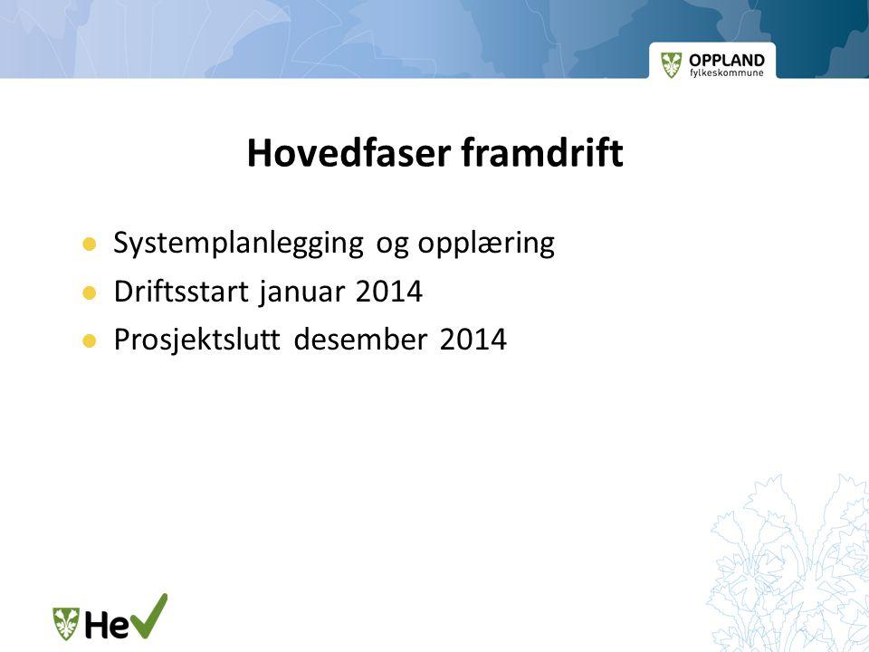 Hovedfaser framdrift  Systemplanlegging og opplæring  Driftsstart januar 2014  Prosjektslutt desember 2014