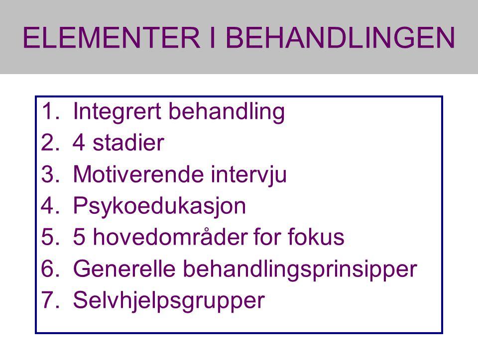 ELEMENTER I BEHANDLINGEN 1.Integrert behandling 2.4 stadier 3.Motiverende intervju 4.Psykoedukasjon 5.5 hovedområder for fokus 6.Generelle behandlingsprinsipper 7.Selvhjelpsgrupper