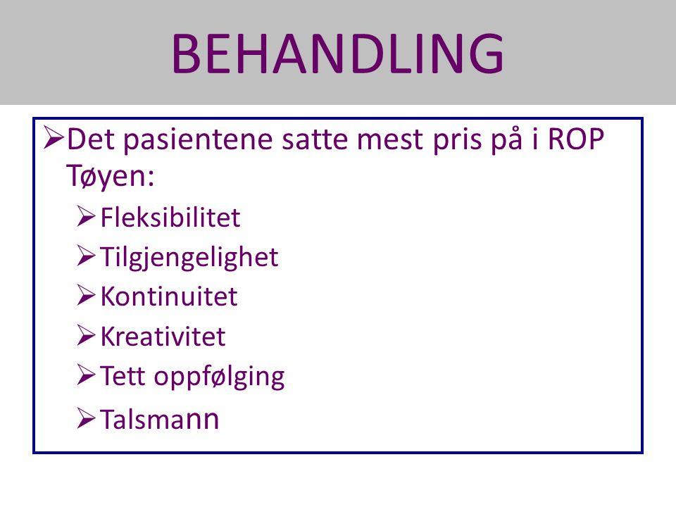 BEHANDLING  Det pasientene satte mest pris på i ROP Tøyen:  Fleksibilitet  Tilgjengelighet  Kontinuitet  Kreativitet  Tett oppfølging  Talsma n