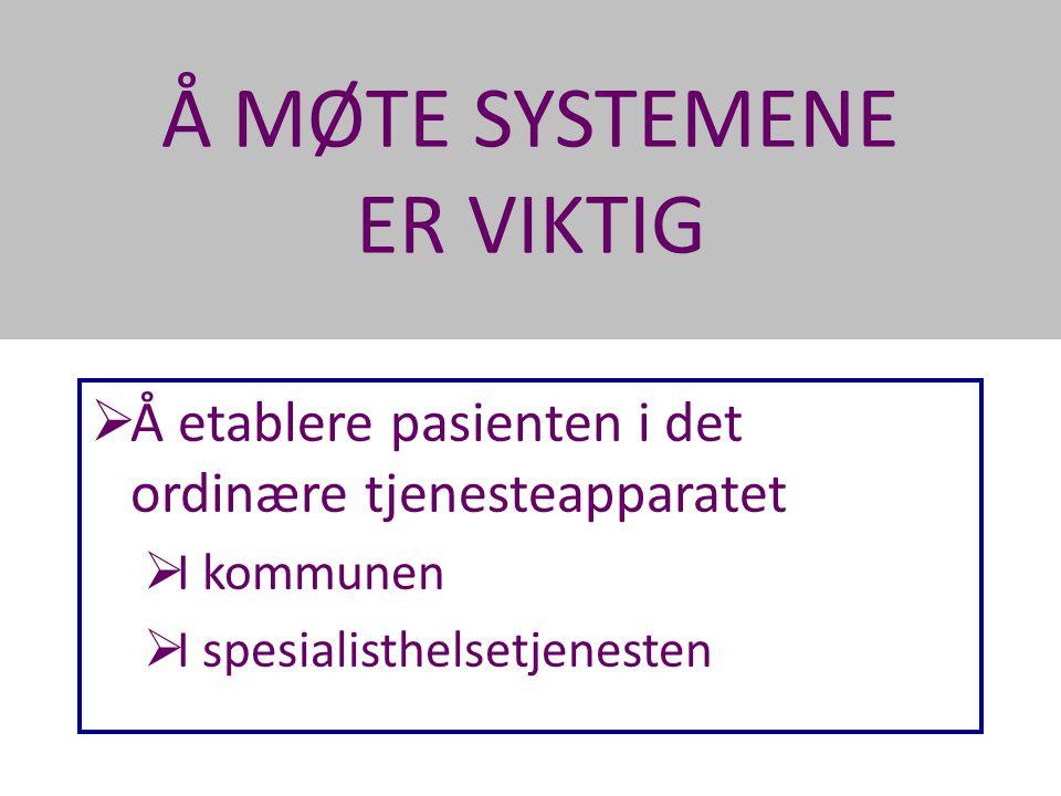 Å MØTE SYSTEMENE ER VIKTIG Dette krever at vi arbeider med •Pasienten •Kommunens helse- og sosialtjeneste •Spesialisthelsetjenesten (Psykiatri / Tverrfaglig Spesialisert rusBehandling / Somatikk)