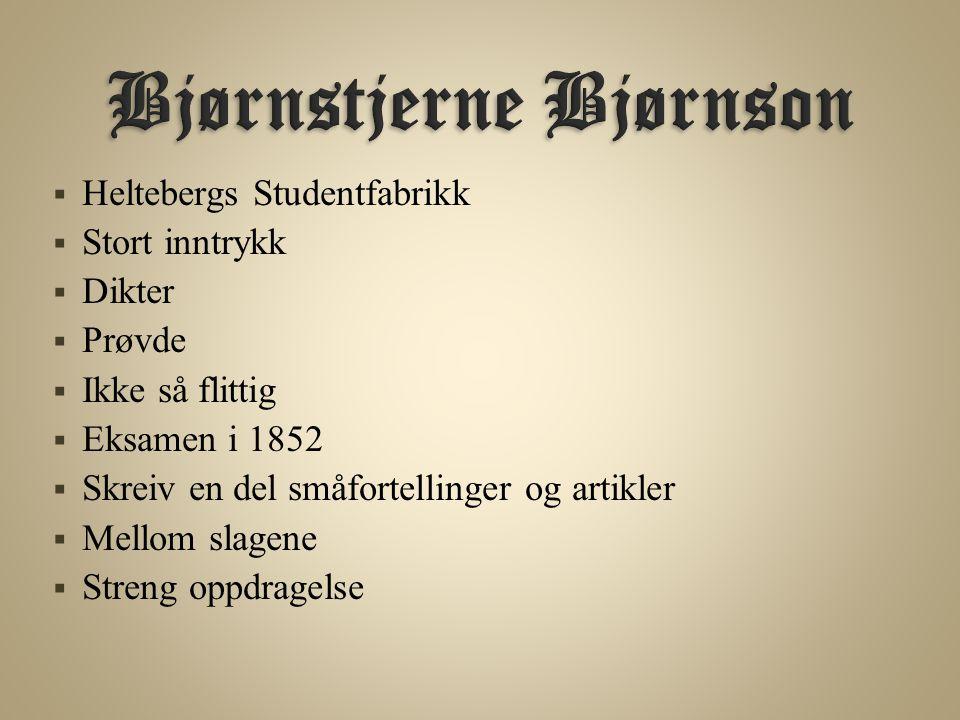  Heltebergs Studentfabrikk  Stort inntrykk  Dikter  Prøvde  Ikke så flittig  Eksamen i 1852  Skreiv en del småfortellinger og artikler  Mellom slagene  Streng oppdragelse