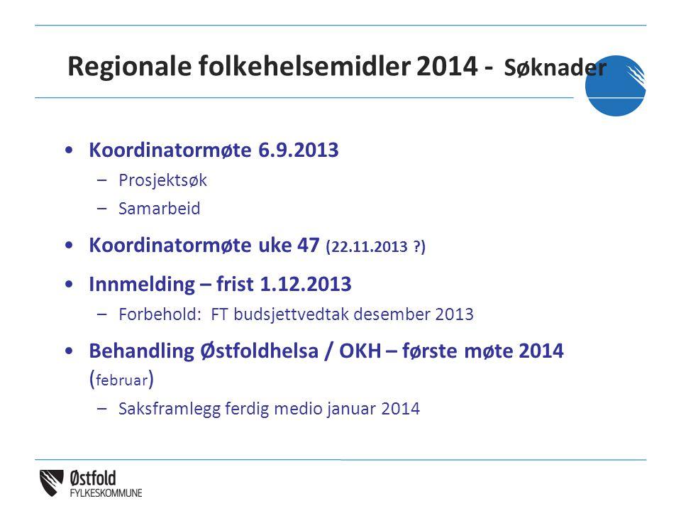 Regionale folkehelsemidler 2014 - Søknader •Koordinatormøte 6.9.2013 –Prosjektsøk –Samarbeid •Koordinatormøte uke 47 (22.11.2013 ?) •Innmelding – fris