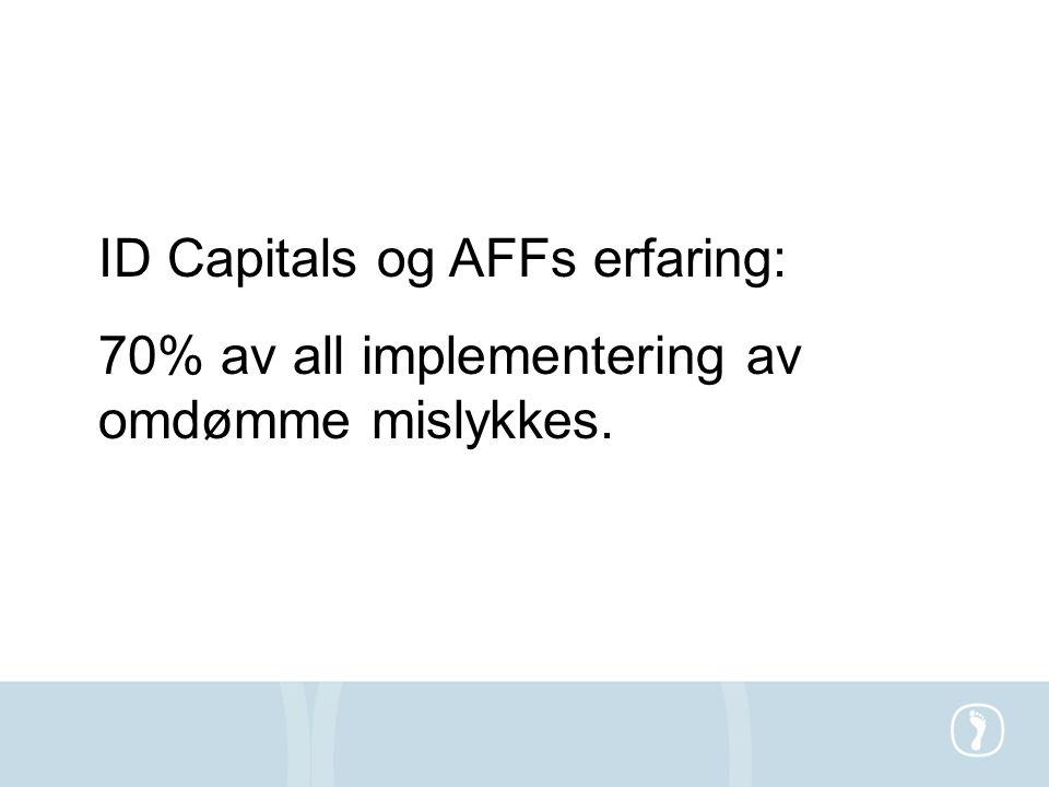 ID Capitals og AFFs erfaring: 70% av all implementering av omdømme mislykkes.