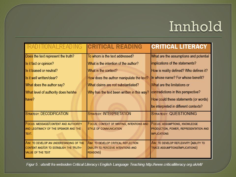 Figur 5 : utsnitt fra websiden Critical Literacy i English Language Teaching http://www.criticalliteracy.org.uk/elt/