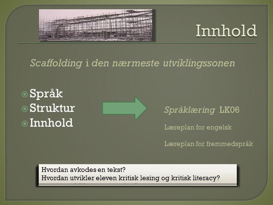  Språk  Struktur  Innhold Språklæring LK06 Læreplan for engelsk Læreplan for fremmedspråk Scaffolding i den nærmeste utviklingssonen Hvilke ord bru