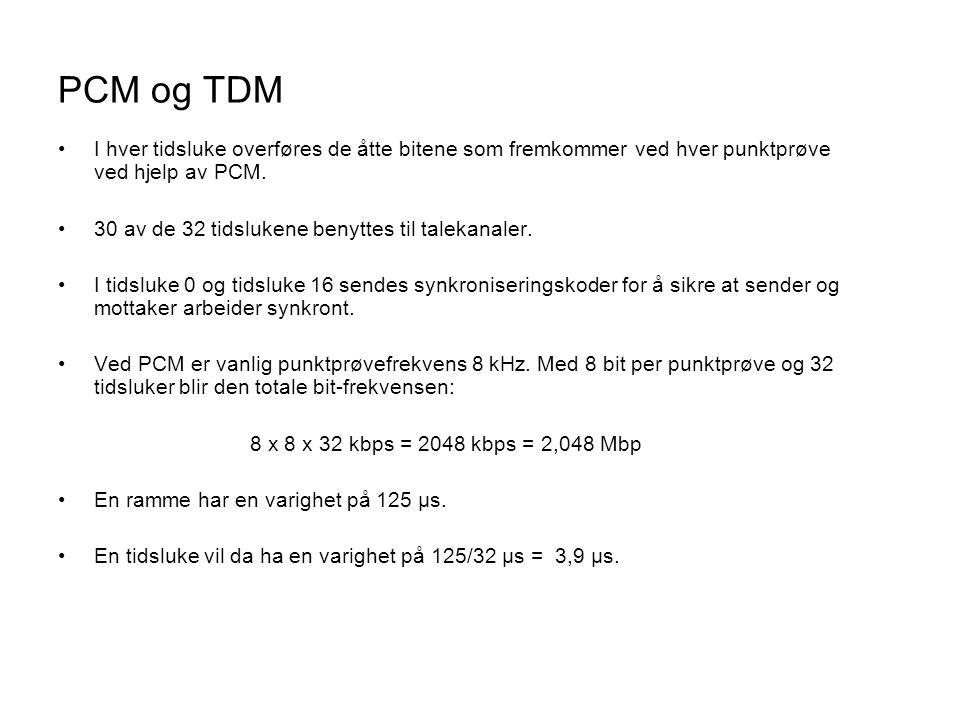 PCM og TDM •I hver tidsluke overføres de åtte bitene som fremkommer ved hver punktprøve ved hjelp av PCM. •30 av de 32 tidslukene benyttes til talekan