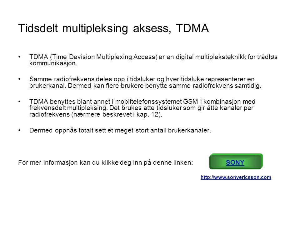 Tidsdelt multipleksing aksess, TDMA •TDMA (Time Devision Multiplexing Access) er en digital multipleksteknikk for trådløs kommunikasjon. •Samme radiof