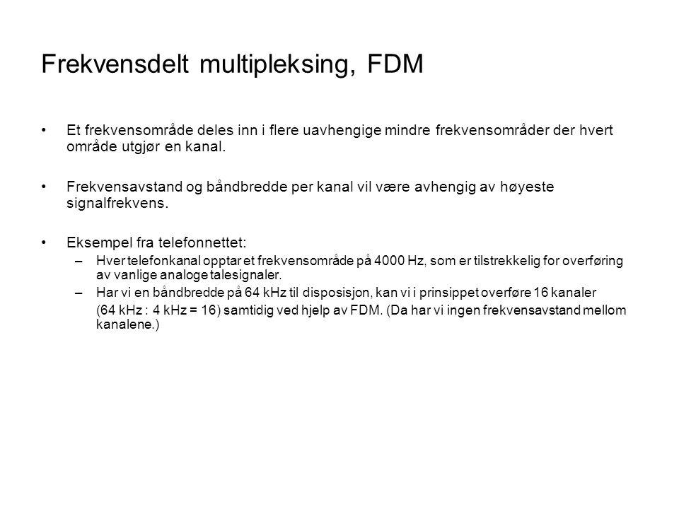 Frekvensdelt multipleksing, FDM •Et frekvensområde deles inn i flere uavhengige mindre frekvensområder der hvert område utgjør en kanal. •Frekvensavst