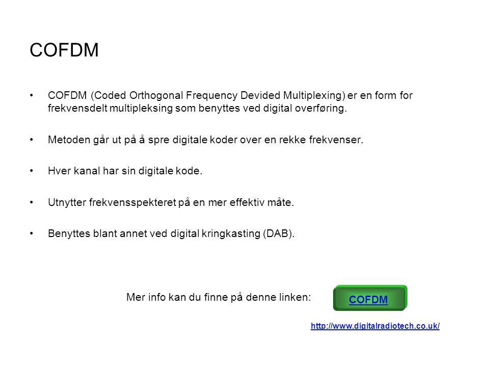 COFDM •COFDM (Coded Orthogonal Frequency Devided Multiplexing) er en form for frekvensdelt multipleksing som benyttes ved digital overføring. •Metoden