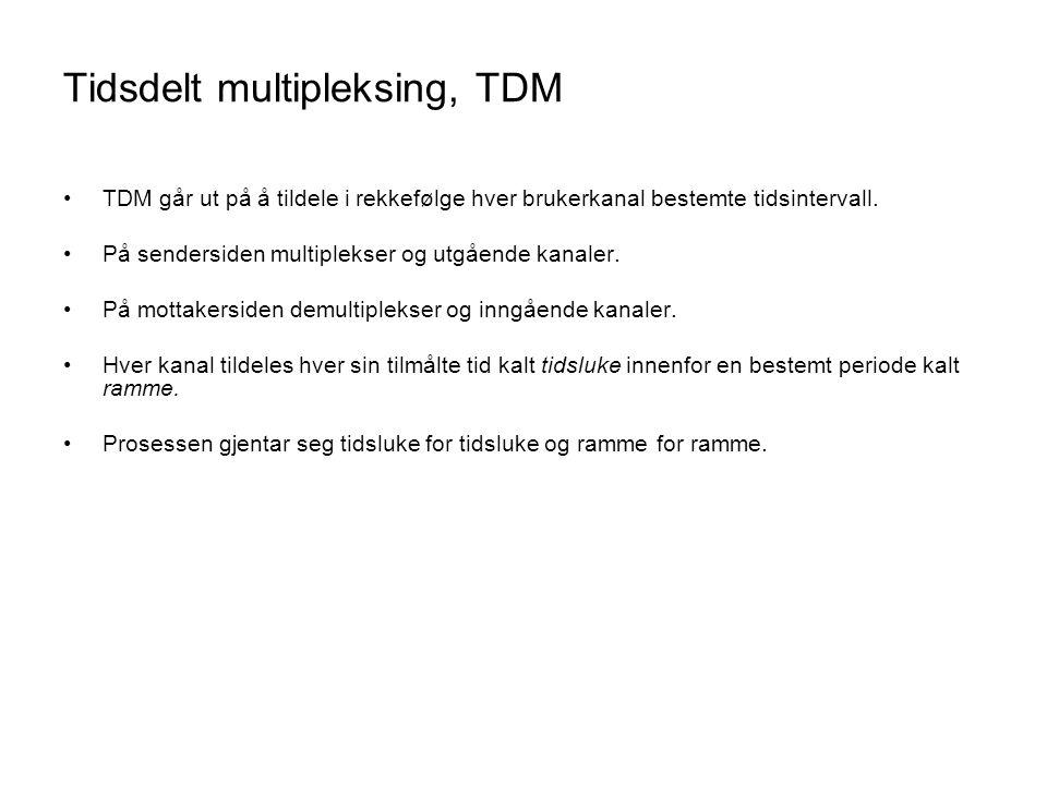 Tidsdelt multipleksing, TDM •TDM går ut på å tildele i rekkefølge hver brukerkanal bestemte tidsintervall. •På sendersiden multiplekser og utgående ka