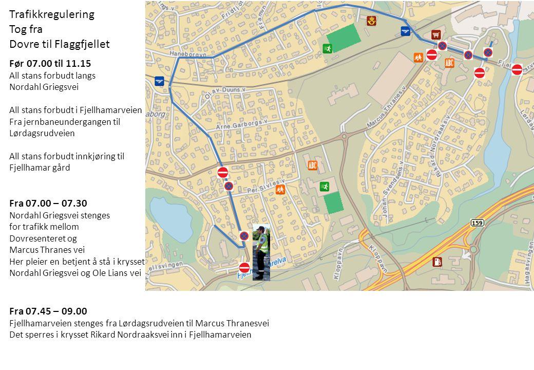 Før 07.00 til 11.15 All stans forbudt langs Nordahl Griegsvei All stans forbudt i Fjellhamarveien Fra jernbaneundergangen til Lørdagsrudveien All stan