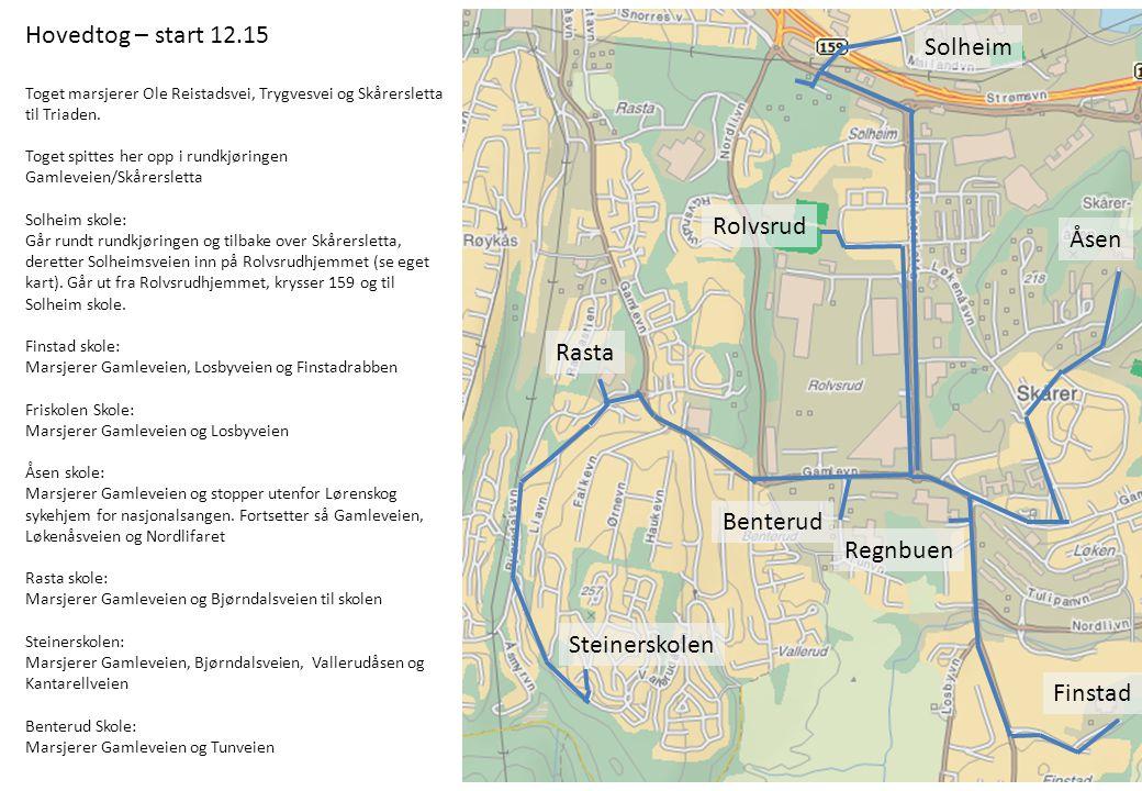 Hovedtog – start 12.15 Toget marsjerer Ole Reistadsvei, Trygvesvei og Skårersletta til Triaden. Toget spittes her opp i rundkjøringen Gamleveien/Skåre