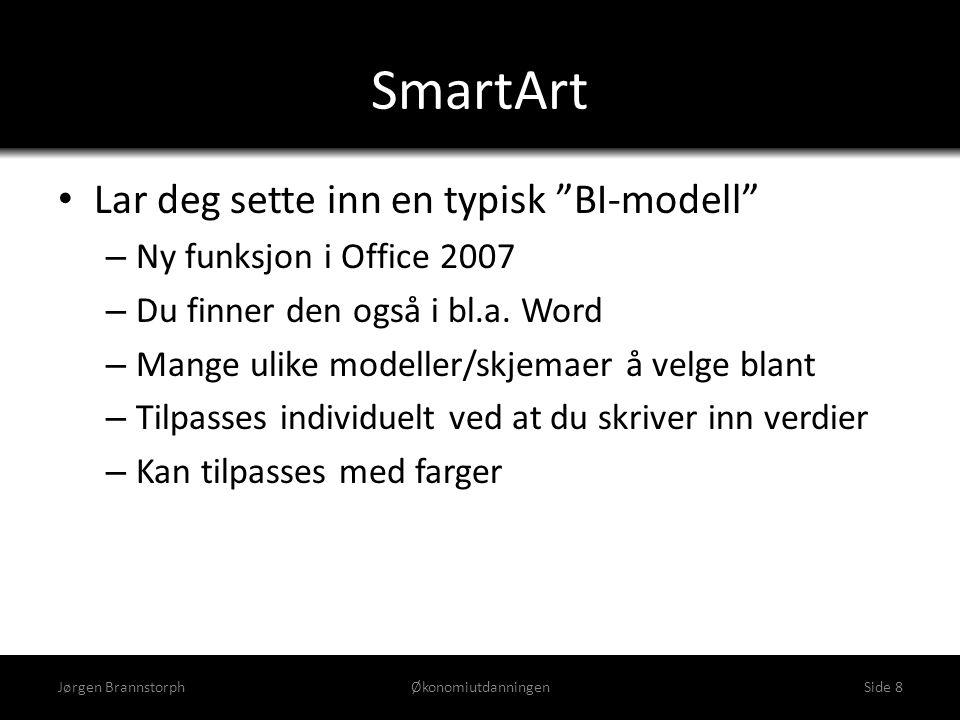 """SmartArt • Lar deg sette inn en typisk """"BI-modell"""" – Ny funksjon i Office 2007 – Du finner den også i bl.a. Word – Mange ulike modeller/skjemaer å vel"""