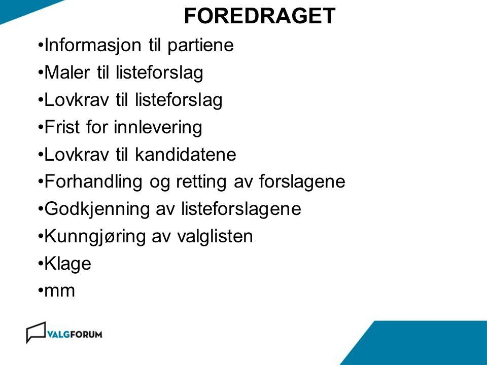 Gardermoen 17.november 2010 BARE STÅ PÅ EN LISTE § 6-6, 4.