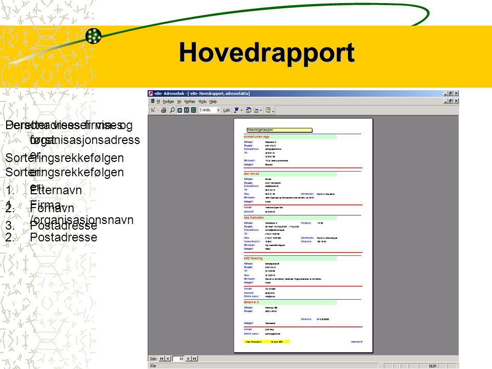 7 Hovedrapport Hovedrapporten viser alle opplysninger som er registrert på den enkelte kontakt – med unntak av kontoopplysninger og personnummer.