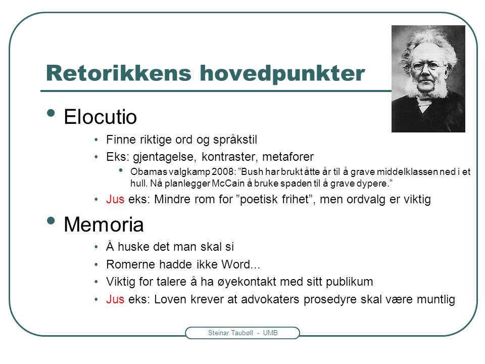 Steinar Taubøll - UMB Retorikkens hovedpunkter • Elocutio •Finne riktige ord og språkstil •Eks: gjentagelse, kontraster, metaforer • Obamas valgkamp 2