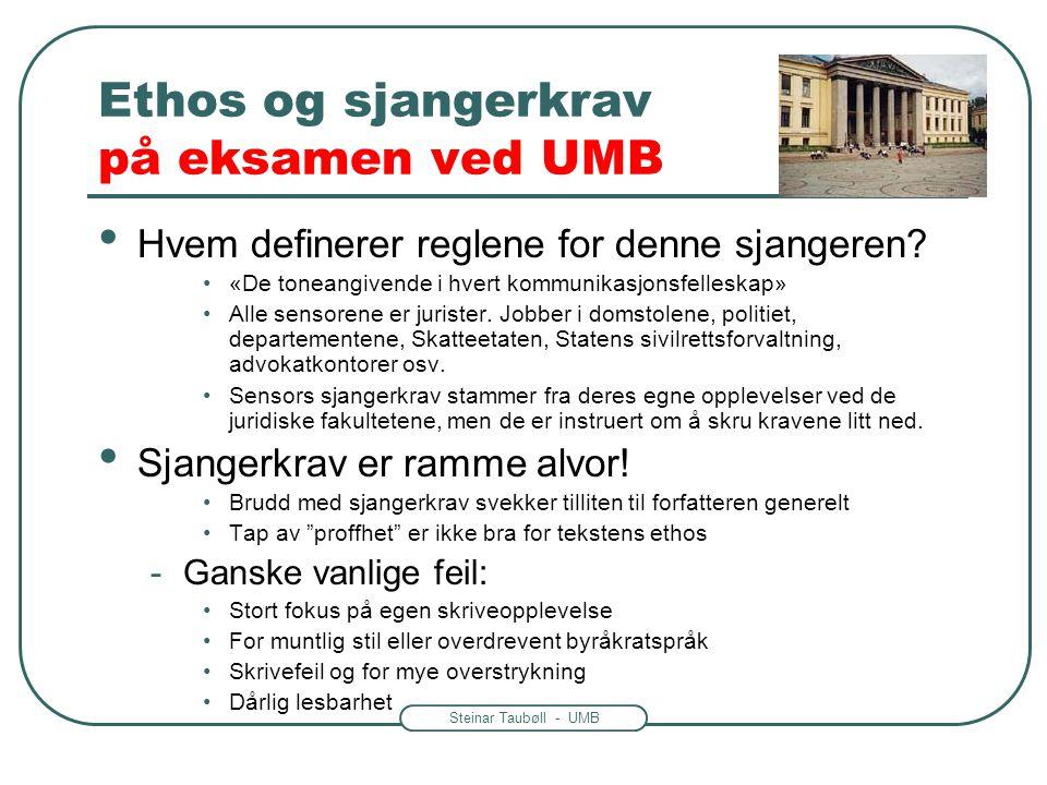 Steinar Taubøll - UMB Ethos og sjangerkrav på eksamen ved UMB • Hvem definerer reglene for denne sjangeren? •«De toneangivende i hvert kommunikasjonsf