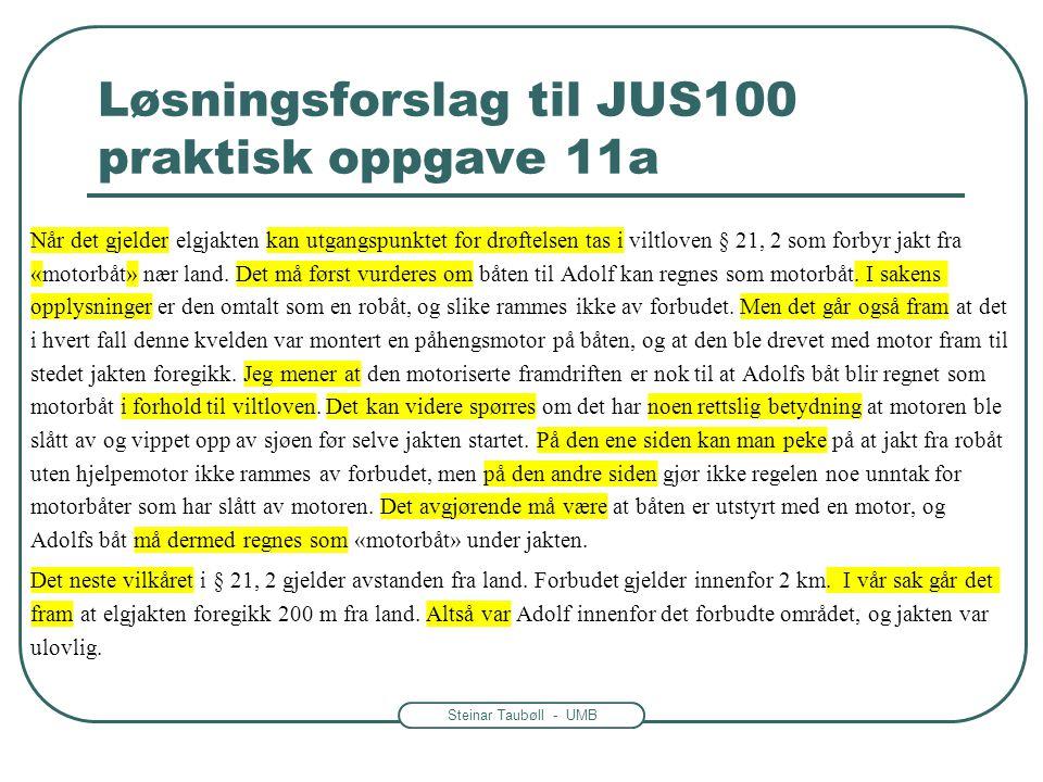 Steinar Taubøll - UMB Løsningsforslag til JUS100 praktisk oppgave 11a Når det gjelder elgjakten kan utgangspunktet for drøftelsen tas i viltloven § 21
