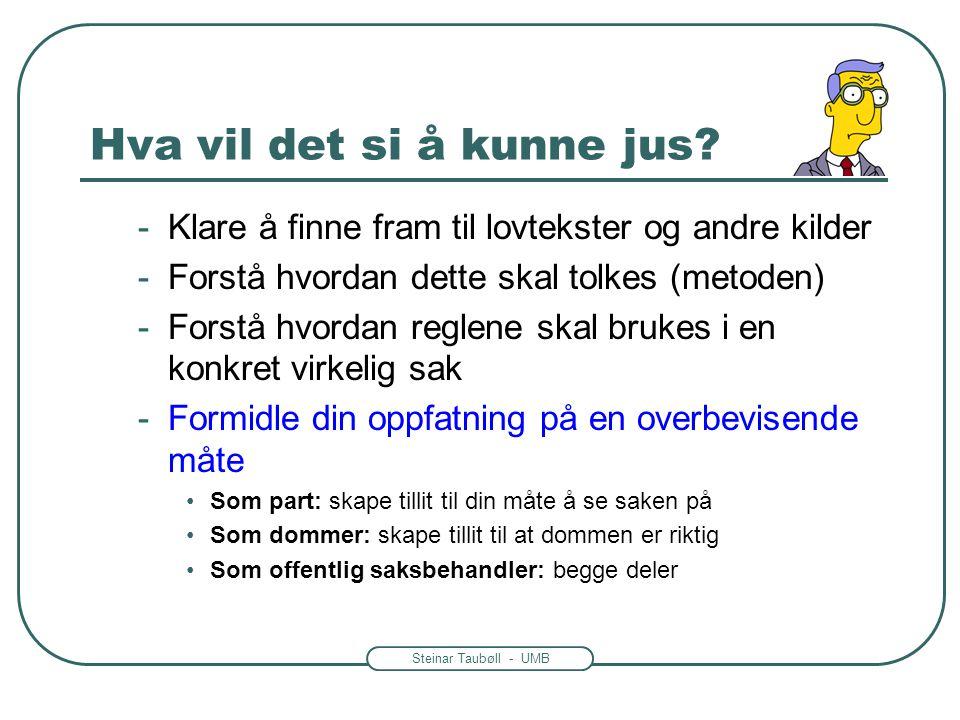Steinar Taubøll - UMB Hva vil det si å kunne jus? -Klare å finne fram til lovtekster og andre kilder -Forstå hvordan dette skal tolkes (metoden) -Fors