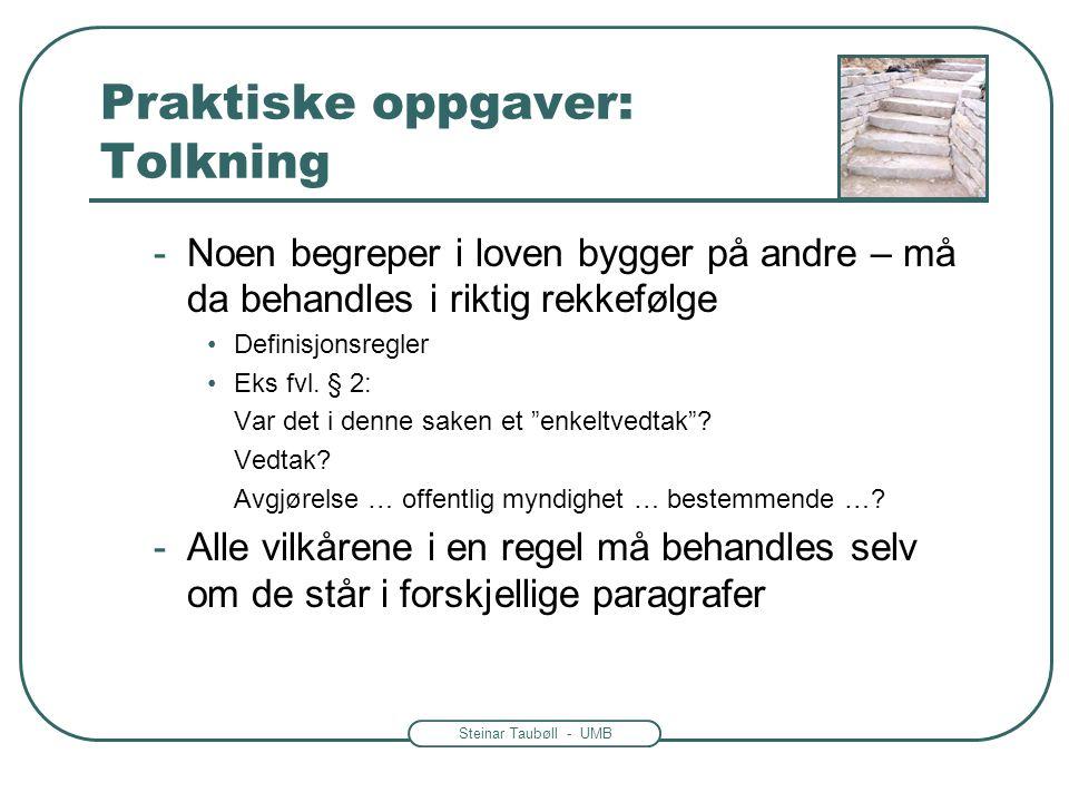 Steinar Taubøll - UMB Praktiske oppgaver: Tolkning -Noen begreper i loven bygger på andre – må da behandles i riktig rekkefølge •Definisjonsregler •Ek