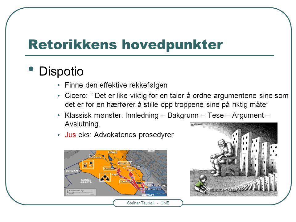 """Steinar Taubøll - UMB Retorikkens hovedpunkter • Dispotio •Finne den effektive rekkefølgen •Cicero: """" Det er like viktig for en taler å ordne argument"""
