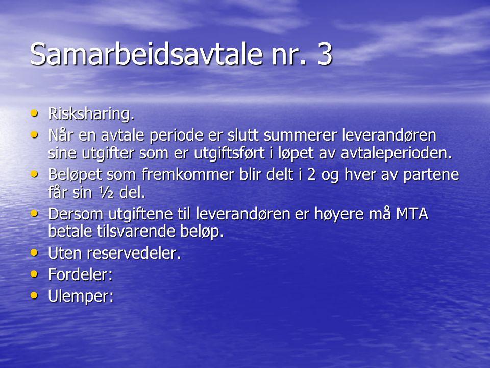 Samarbeidsavtale nr.4 • Normal serviceavtale som ikke inkluderer reservedeler.