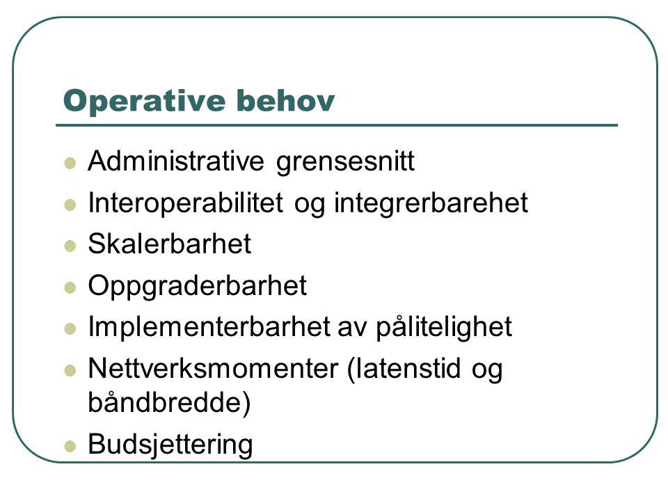 Operative behov  Administrative grensesnitt  Interoperabilitet og integrerbarehet  Skalerbarhet  Oppgraderbarhet  Implementerbarhet av pålitelighet  Nettverksmomenter (latenstid og båndbredde)  Budsjettering