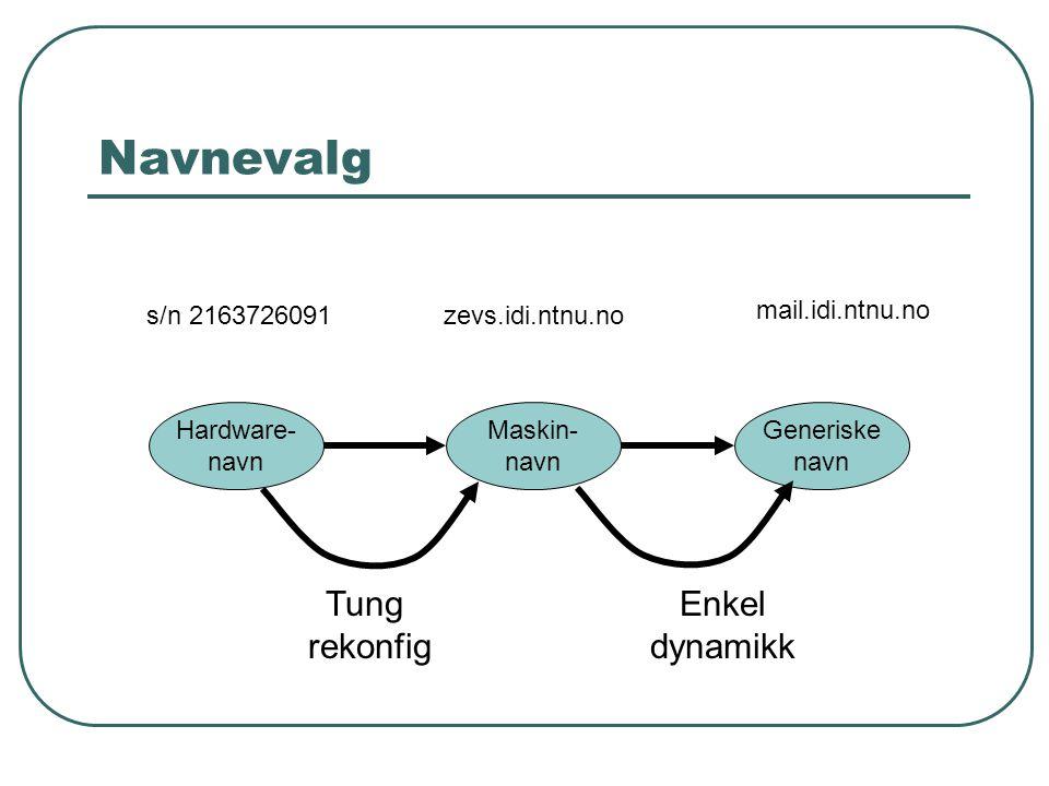 Navnevalg Maskin- navn Generiske navn Hardware- navn Tung rekonfig Enkel dynamikk mail.idi.ntnu.no zevs.idi.ntnu.nos/n 2163726091