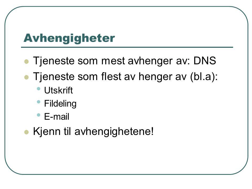 Avhengigheter  Tjeneste som mest avhenger av: DNS  Tjeneste som flest av henger av (bl.a): • Utskrift • Fildeling • E-mail  Kjenn til avhengighetene!