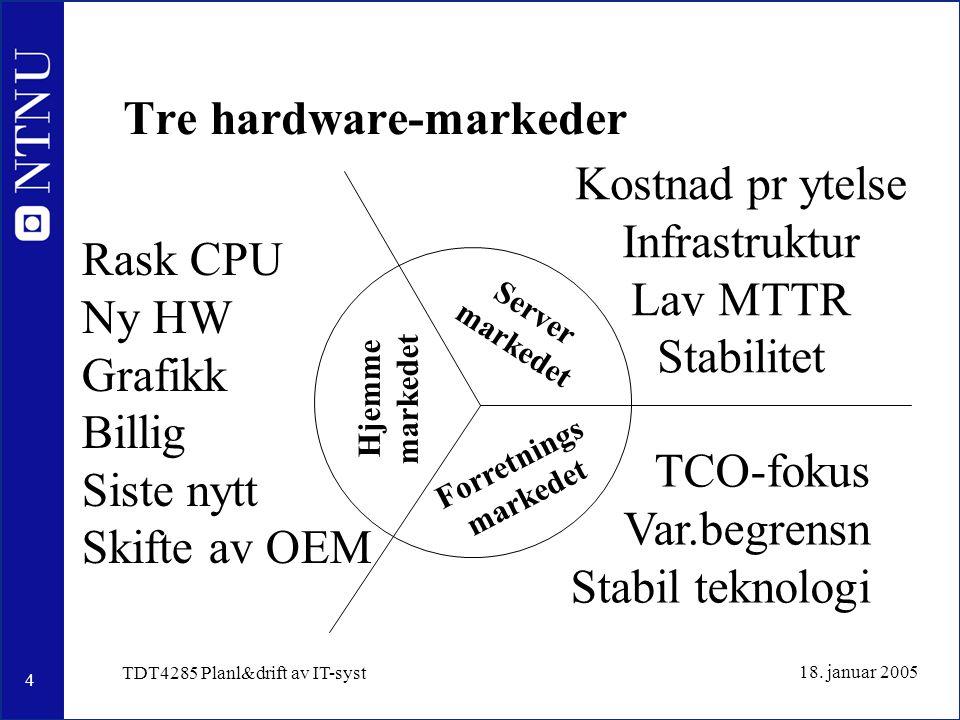 5 18.januar 2005 TDT4285 Planl&drift av IT-syst Valg av maskinvare 1. Standard hyllevare –Billig.