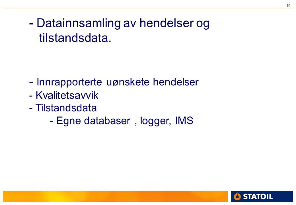 19 - Innrapporterte uønskete hendelser - Kvalitetsavvik - Tilstandsdata - Egne databaser, logger, IMS - Datainnsamling av hendelser og tilstandsdata.