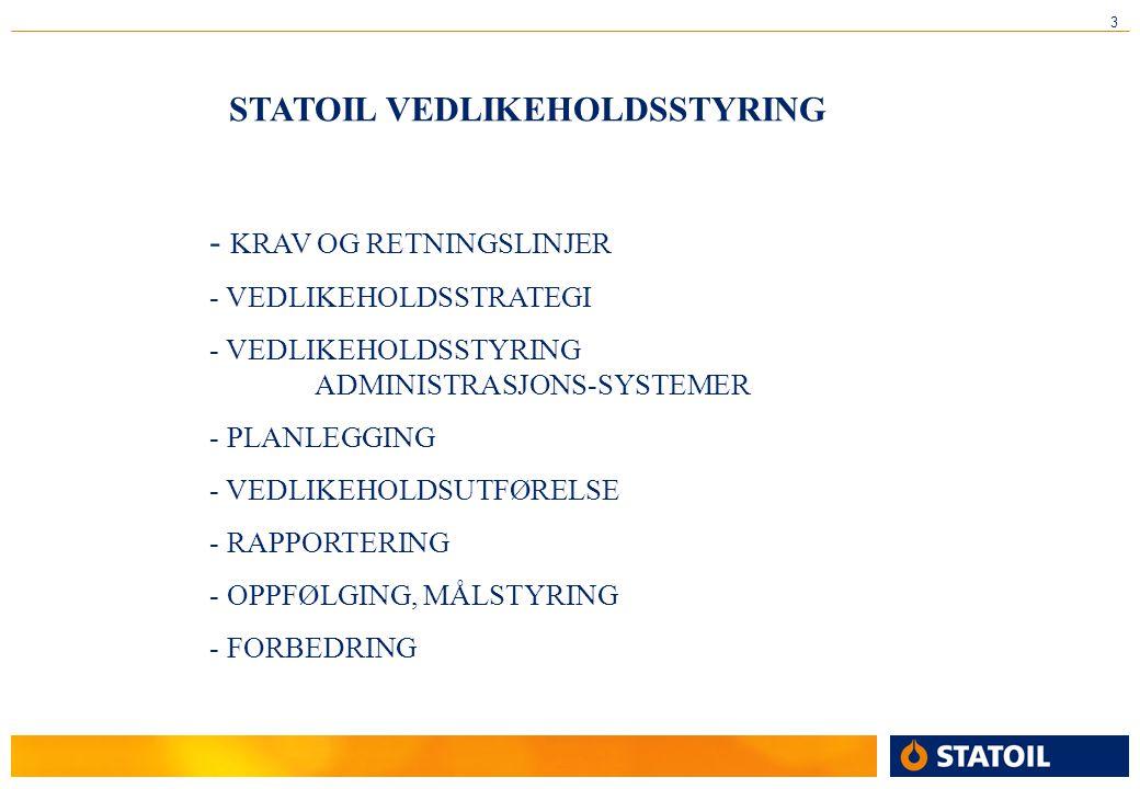 3 STATOIL VEDLIKEHOLDSSTYRING - KRAV OG RETNINGSLINJER - VEDLIKEHOLDSSTRATEGI - VEDLIKEHOLDSSTYRING ADMINISTRASJONS-SYSTEMER - PLANLEGGING - VEDLIKEHOLDSUTFØRELSE - RAPPORTERING - OPPFØLGING, MÅLSTYRING - FORBEDRING