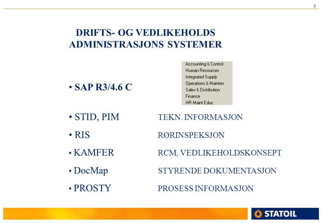 9 DRIFTS- OG VEDLIKEHOLDS ADMINISTRASJONS SYSTEMER • SAP R3/4.6 C • STID, PIM TEKN. INFORMASJON • RIS RØRINSPEKSJON • KAMFER RCM, VEDLIKEHOLDSKONSEPT
