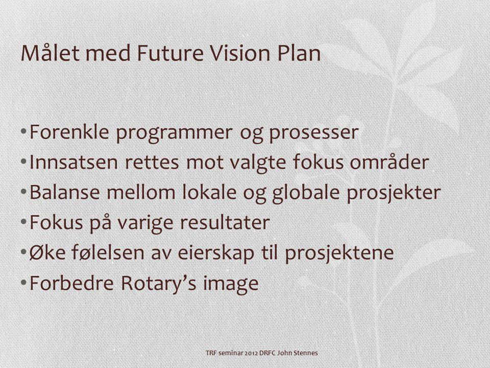 TRF seminar 2012 DRFC John Stennes Målet med Future Vision Plan • Forenkle programmer og prosesser • Innsatsen rettes mot valgte fokus områder • Balanse mellom lokale og globale prosjekter • Fokus på varige resultater • Øke følelsen av eierskap til prosjektene • Forbedre Rotary's image