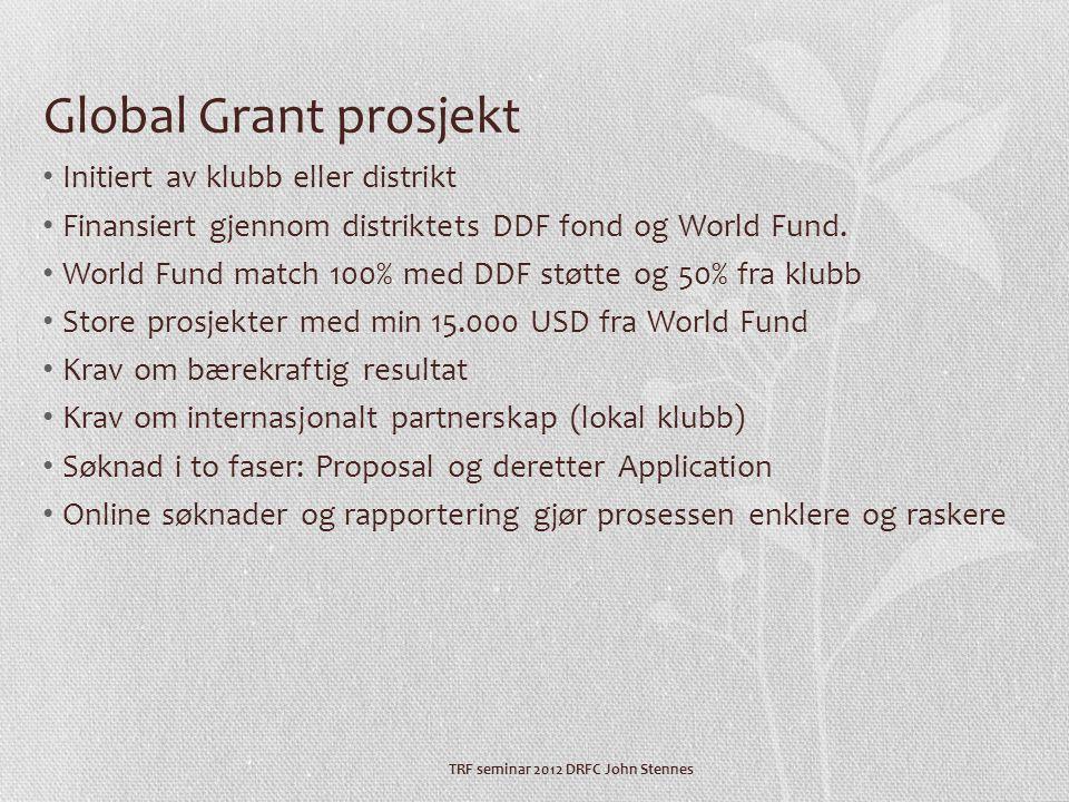 Global Grant prosjekt • Initiert av klubb eller distrikt • Finansiert gjennom distriktets DDF fond og World Fund.