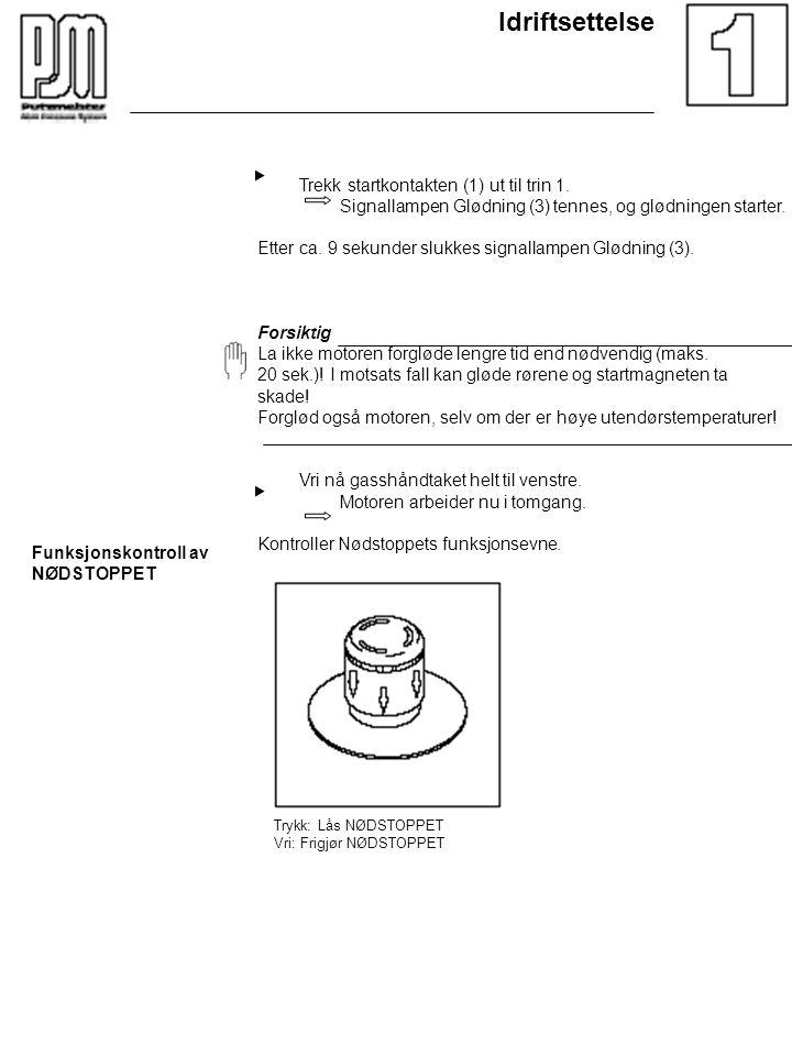 Idriftsettelse Trekk startkontakten (1) ut til trin 1. Signallampen Glødning (3) tennes, og glødningen starter. Etter ca. 9 sekunder slukkes signallam