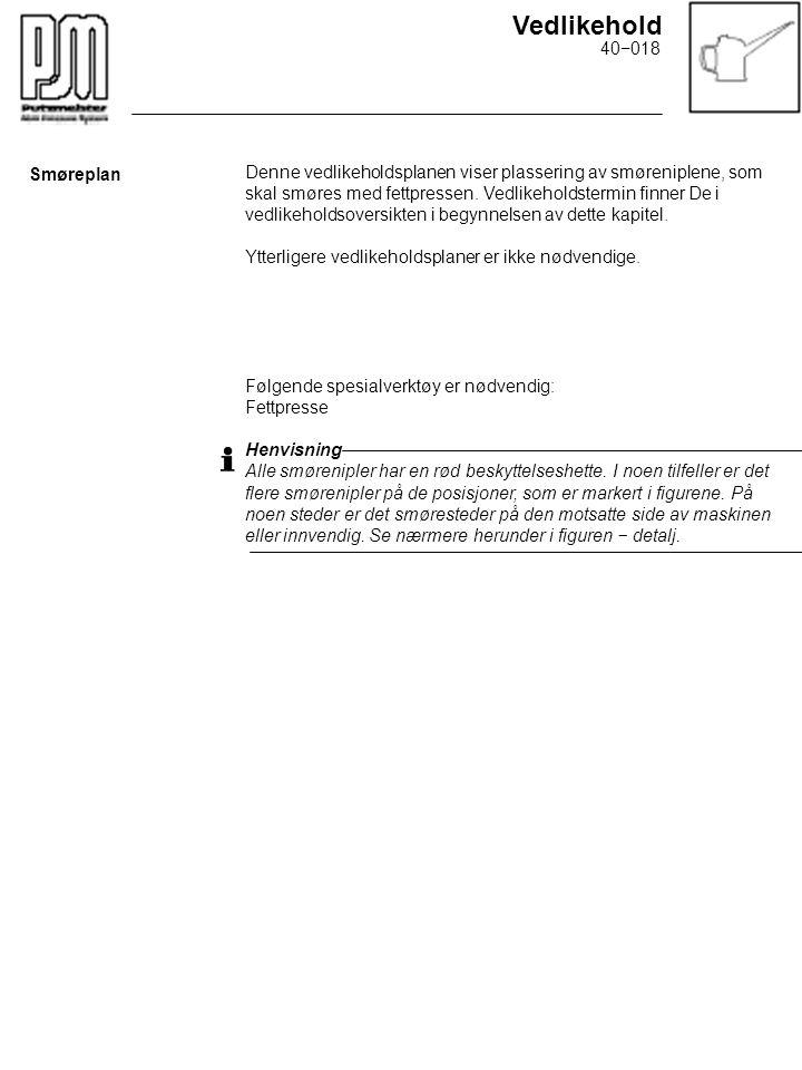 Vedlikehold Denne vedlikeholdsplanen viser plassering av smøreniplene, som skal smøres med fettpressen. Vedlikeholdstermin finner De i vedlikeholdsove